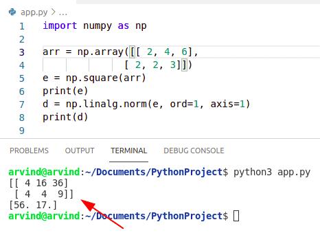 Python numpy square norm