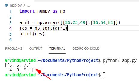Python numpy square root 2d array
