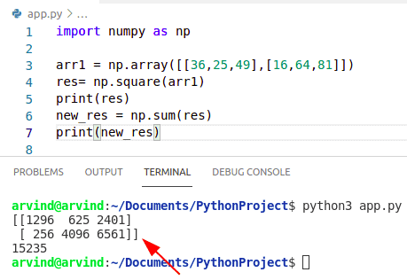 Python numpy square sum