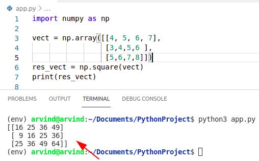 Python numpy square vector
