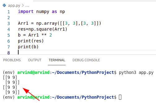 Python numpy square vs **