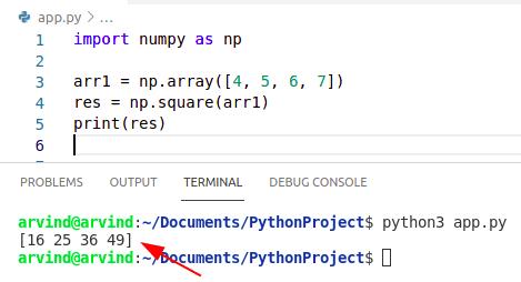 Python numpy square
