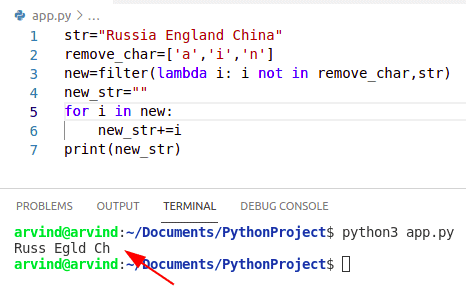 Python remove character from string using filter