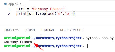Python remove character from string using replace