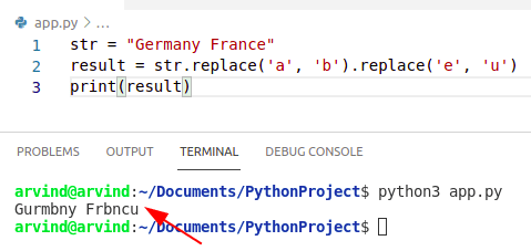 Python remove multiple characters from a string using replace