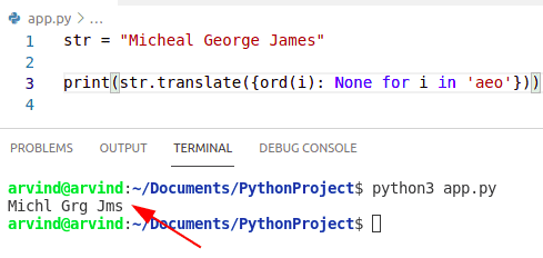 Python remove multiple characters from a string using translate
