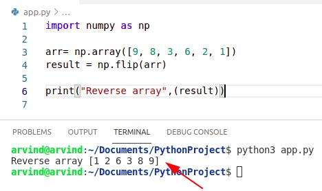 Python reverse numpy array by flip method