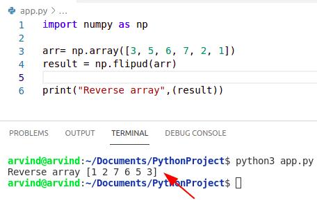 Python reverse numpy array by flipud method