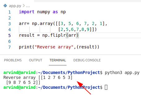 Python reverse numpy array fliplr method