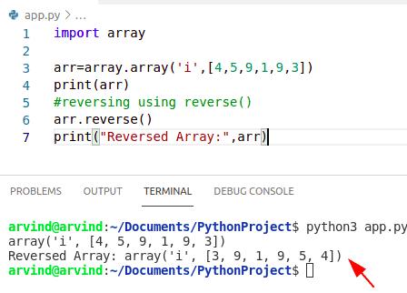 Python reverse numpy array reverse method
