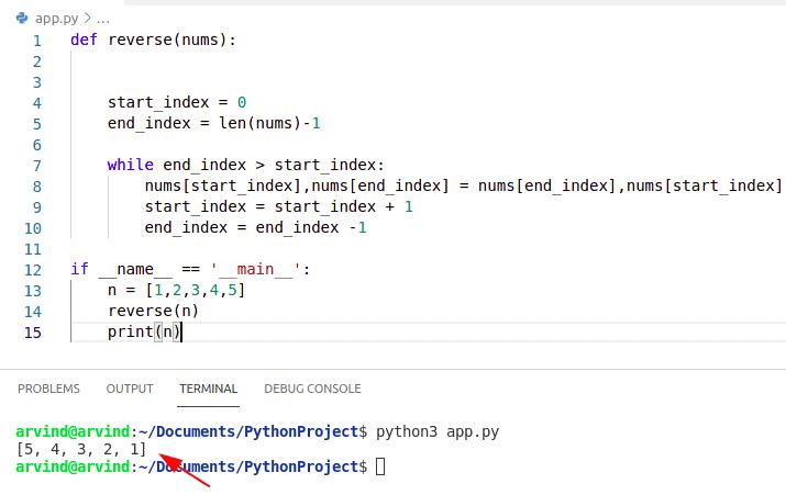 Python reverse numpy array using length function