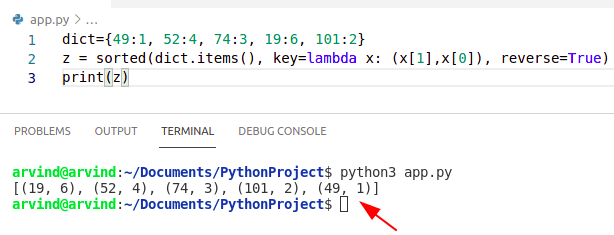 Python sort dictionary by value then key