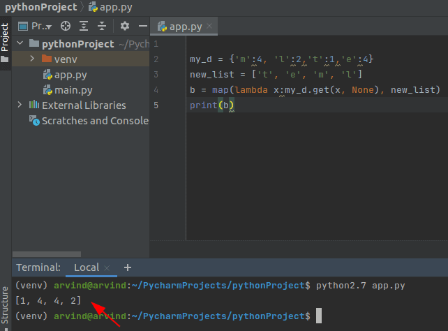 Python map dictionary values to list
