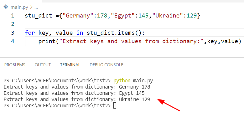 Get all key values from dictionary Python
