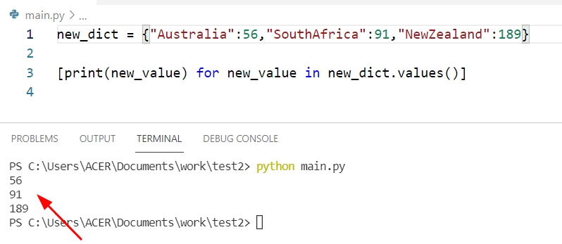 Get all values from a dictionary Python by list method