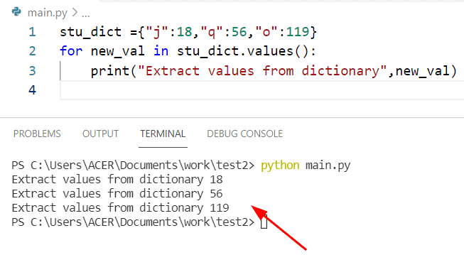 Get all values from a dictionary Python by loop method