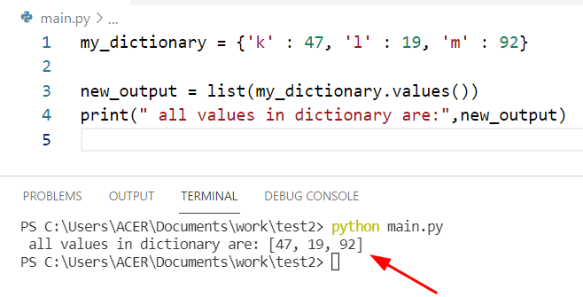 Get all values from a dictionary Python