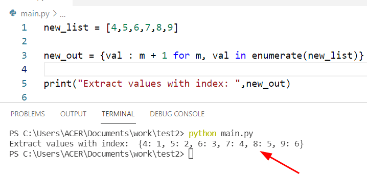 Get all values from dictionary Python with index