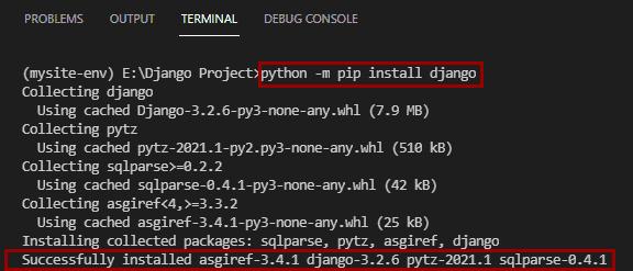 How to install Django in visual studio code