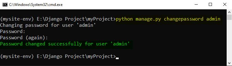 How to reset Admin password in Django