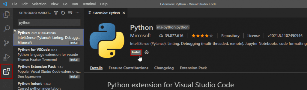 Installing python extension in vs code