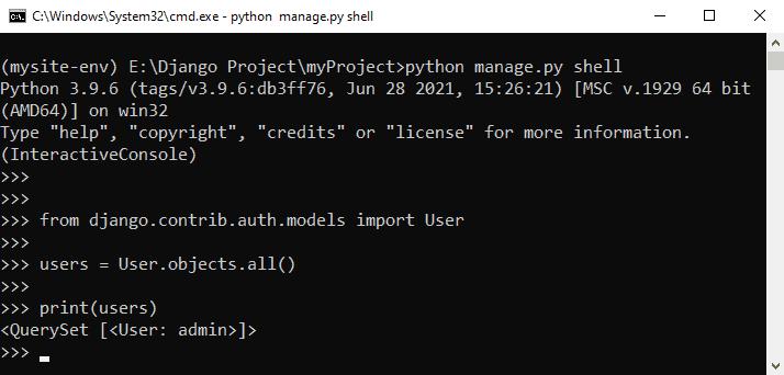 Python Django get admin password