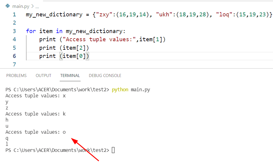 Python access tuple in dictionary