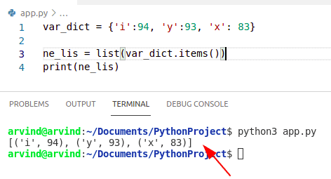 Python convert dict to list of pairs