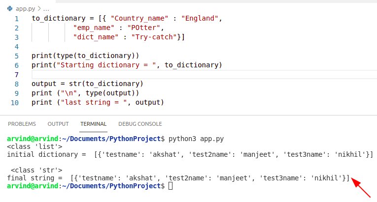 Python convert dictionary list to string