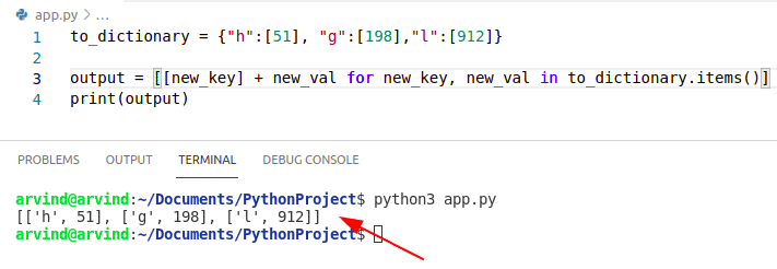 Python convert dictionary to list of key value pairs comprehension method