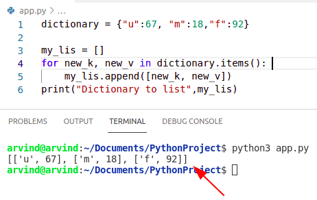 Python convert dictionary to list of key value pairs