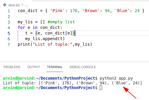 Python convert dictionary to list of tuples