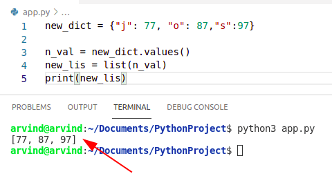 Python convert dictionary to list of values