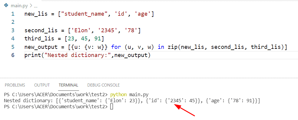 Python created nested dictionary from two lists