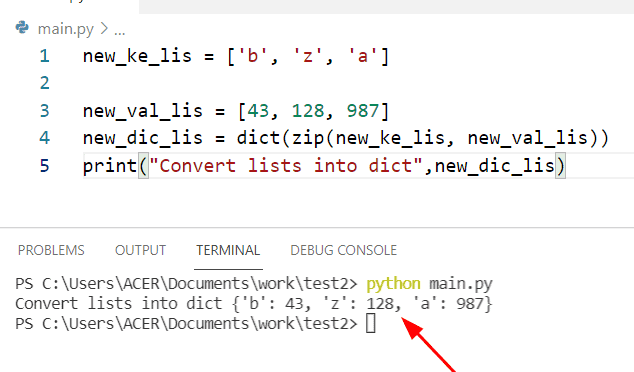 Python creates a dictionary from two list using dict