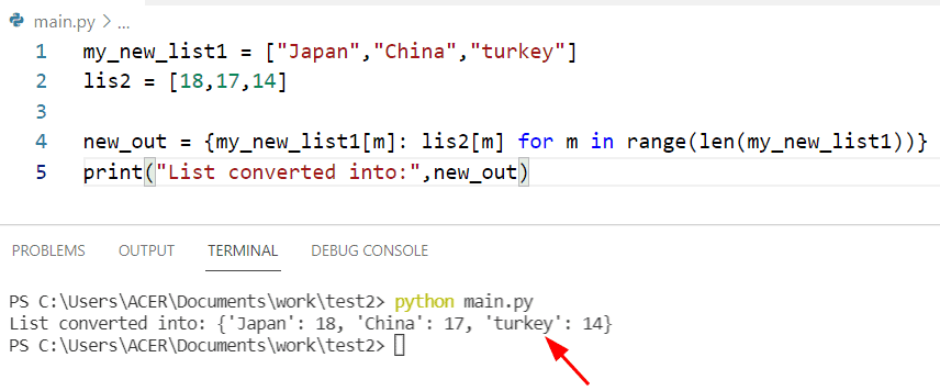 Python creates a dictionary from two list using range