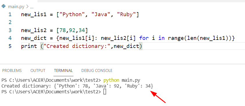 Python creates a dictionary from two lists