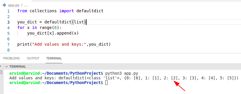 Python dict comprehension with default dict