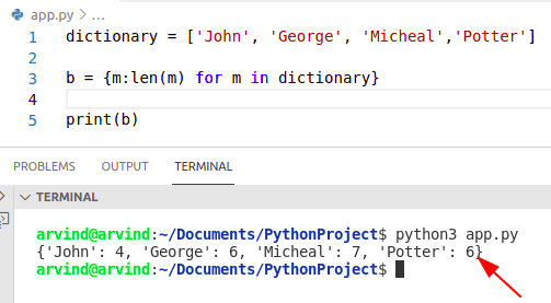 Python dictionary comprehension from list