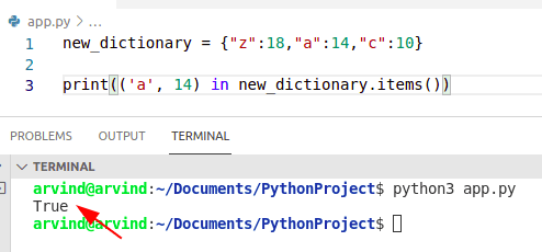 Python dictionary contain elements