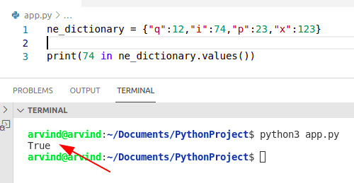 Python dictionary contain value in operator