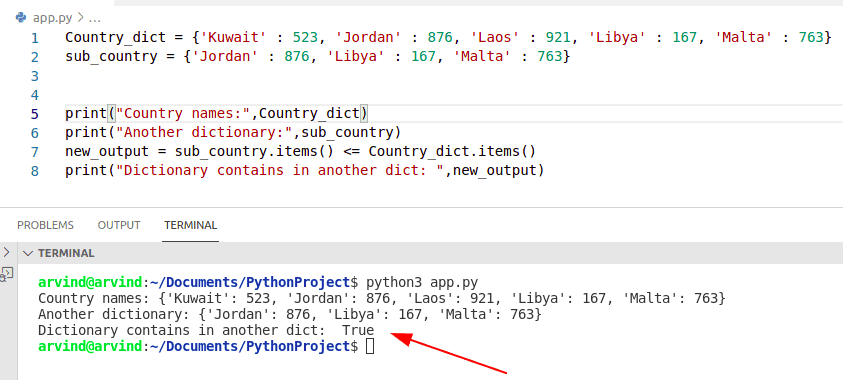 Python dictionary contains another dictionary