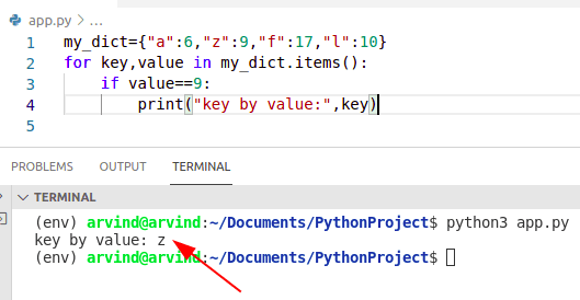 Python dictionary find a key by value method