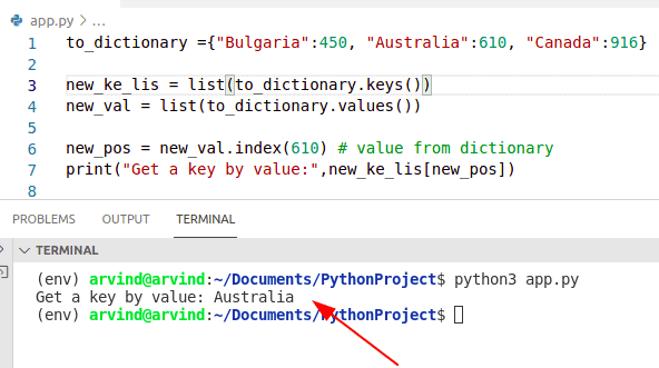 Python dictionary find a key by value