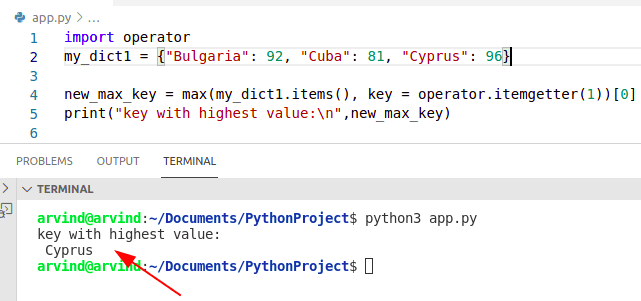 Python dictionary find key by max value itemgetter