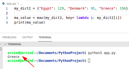 Python dictionary find key by max value lambda function