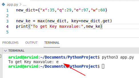 Python dictionary find key by max value