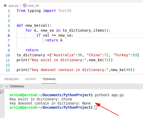 Python dictionary find key using value