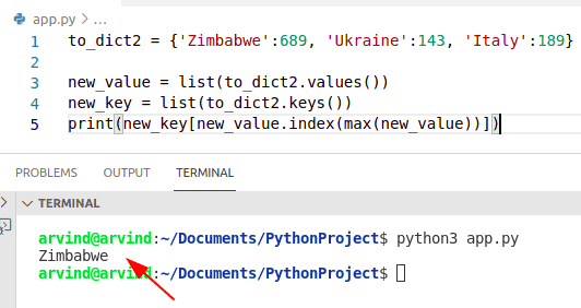 Python dictionary find key with maximum value