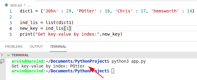 Python dictionary get key value by index method